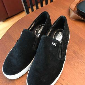 Michael Kors black quilted velvet slip on sneakers